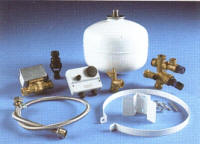 Fittings kit supplied with the Stainless Lite unvented hot water cylinder