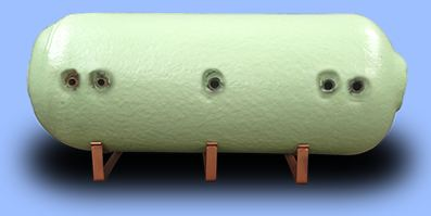 Horizontal hot water cylinder