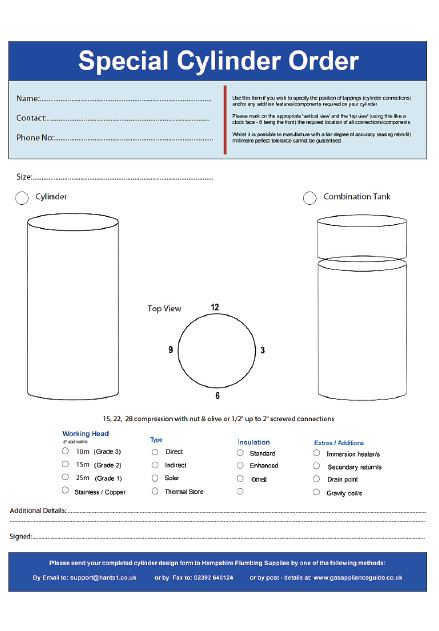 Design your own hot water cylinder using our online form